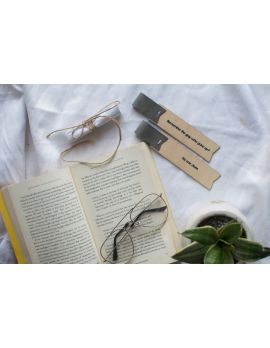 No Giving Up Wood-Vegan Leather Bookmark