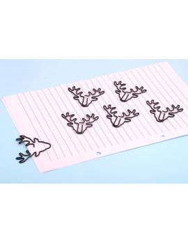 Reindeer Black Metal Paper Clip/Mini Bookmark — Set of 6