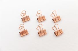 Polka and Stripes Rose Gold Binder Clips -- Set of 6