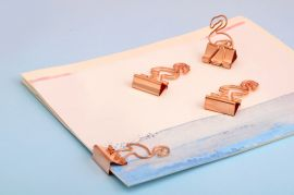 Large Flamingo Rose Gold Binder Clips — Set of 4