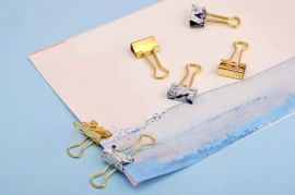 Marble and Gold Mini Binder Clips — Set of 6