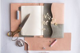 Peach Fabric and Vintage Grey Vegan leather Utility Journal