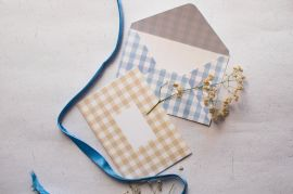 Vintage Chequered Envelope — Set of 2