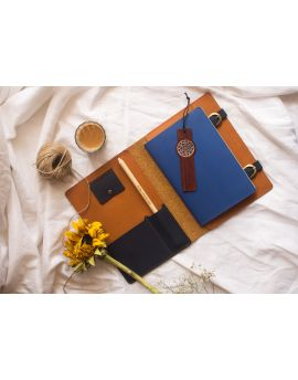 Tan-Navy Vegan Leather Utility Journal